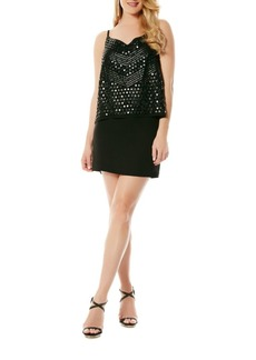 Laundry by Shelli Segal Beaded Mock Top Chiffon Dress