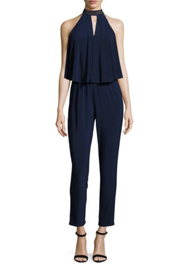 Laundry By Shelli Segal Beaded-Neck Draped Jumpsuit