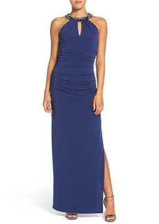 Laundry by Shelli Segal Beaded Neck Gown