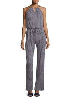 Laundry by Shelli Segal Beehive Printed Halter Jumpsuit W/ Chain Collar