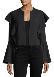 Laundry By Shelli Segal Bell-Sleeve Flutter-Trim Crop Jacket