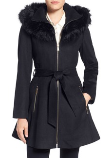 Laundry by Shelli Segal Belted Fit & Flare Coat with Faux Fur Trim