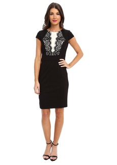 Laundry by Shelli Segal Blocked Ponte Dress w/ Lace