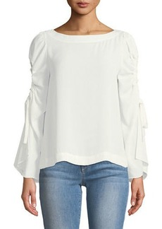 Laundry By Shelli Segal Boat-Neck Keyhole Sleeve Top