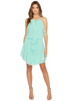 Laundry by Shelli Segal Boho Chic Ruffle Dress w/ Tie Details