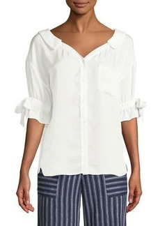 Laundry By Shelli Segal Button-Front Ruffle-Sleeve Top