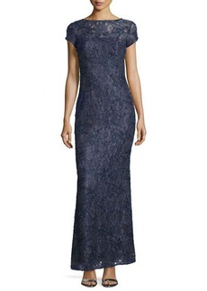 Laundry by Shelli Segal Cap-Sleeve Bateau-Neck Lace Gown