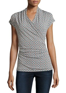 Laundry By Shelli Segal Cap-Sleeve Printed Draped Top