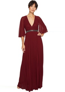 Laundry by Shelli Segal Cape Chiffon Gown with Beaded Waist
