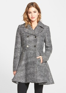 Laundry by Shelli Segal Chevron Twill Double Breasted Skirted Coat (Online Only)