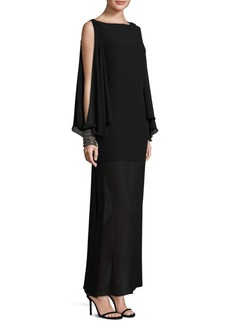 Laundry by Shelli Segal Chiffon Beaded Cape Gown