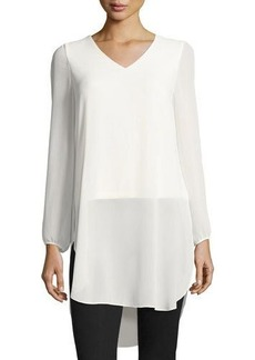 Laundry By Shelli Segal Chiffon-Overlay V-Neck Tunic