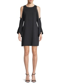 Laundry by Shelli Segal Cold Shoulder Crepe Dress