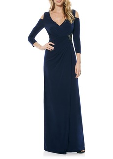 Laundry by Shelli Segal Cold Shoulder Embellished Jersey Gown (Regular & Petite)