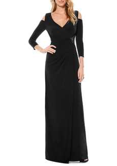 Laundry by Shelli Segal Cold Shoulder Embellished Jersey Gown (Regular & Petite)