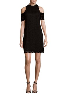 Laundry by Shelli Segal Cold Shoulder Embroidered Dress