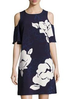 Laundry By Shelli Segal Cold-Shoulder Floral-Print Trapeze Dress