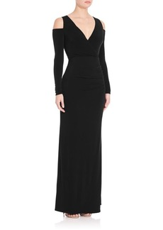 Laundry by Shelli Segal Cold-Shoulder V-Neck Gown