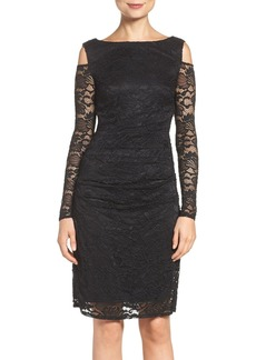 Laundry by Shelli Segal Cold Shoulder Lace Sheath Dress