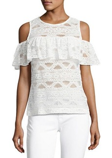 Laundry By Shelli Segal Cold-Shoulder Lace Top