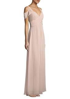 Laundry by Shelli Segal Cold-Shoulder Shirred Gown