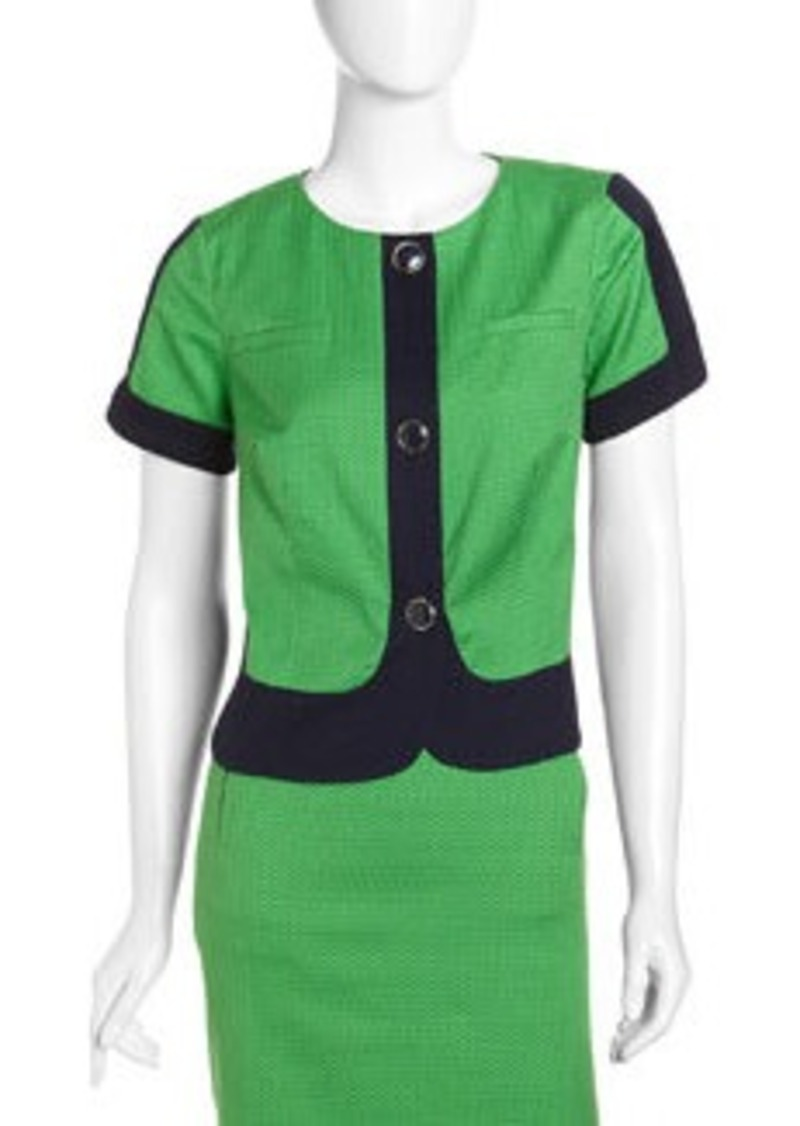 Laundry by Shelli Segal Colorblock Short-Sleeve Jacket, Mod Green/Inkblot