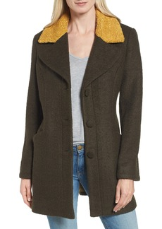 Laundry by Shelli Segal Contrast Collar Bouclé Coat