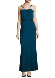 Laundry By Shelli Segal Contrast-Mesh Crepe Gown