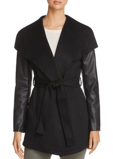 Laundry by Shelli Segal Contrast Sleeve Wrap Coat