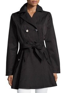 Laundry By Shelli Segal Cotton-Blend Fit-and-Flare Trench Coat
