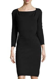Laundry by Shelli Segal Cowl-Neck Sweaterdress w/ Faux-Leather Trim