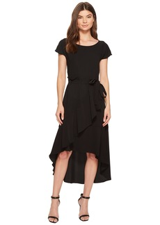 Crepe Dress with Asymmetrical High-Low Hem
