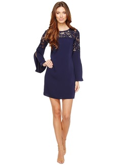 Laundry by Shelli Segal Crepe Dress with Lace Detail