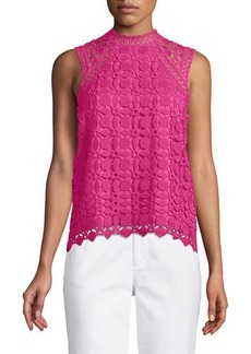 Laundry By Shelli Segal Crochet Sleeveless Mock-Neck Blouse