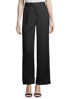 Laundry By Shelli Segal Cuffed Pinstriped Wide-Leg Pants