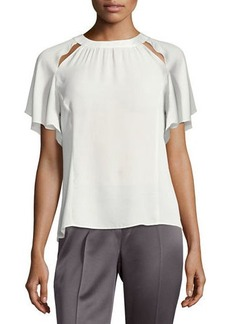 Laundry By Shelli Segal Cutout-Neckline Ruffle-Sleeve Top