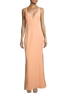 Laundry by Shelli Segal Cutout Stretch Crepe Gown