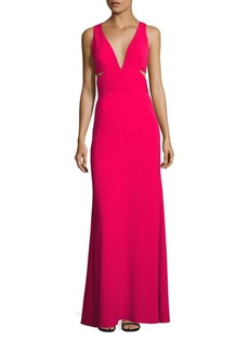 Laundry by Shelli Segal Deep V-Neck Cutout Gown