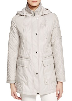 Laundry by Shelli Segal Detachable Hood Waxed Cotton Raincoat