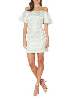 Laundry by Shelli Segal Dot-Motif Off-The-Shoulder Sheath Dress