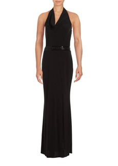 Laundry by Shelli Segal Drape-Front Halter Gown