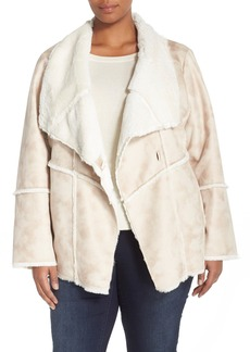 Laundry by Shelli Segal Draped Collar Faux Shearling Coat (Plus Size)