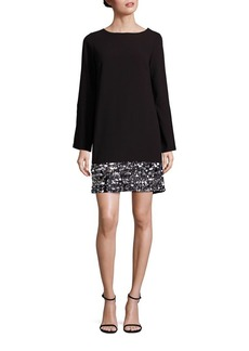 Laundry by Shelli Segal Embellished Bell Sleeve Shift Dress