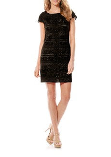 LAUNDRY BY SHELLI SEGAL Embellished Cap-Sleeve Dress