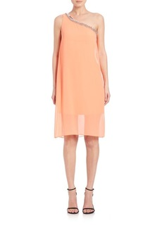 Laundry by Shelli Segal Embellished Chiffon One-Shoulder Dress