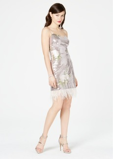 Laundry by Shelli Segal Embellished Feather-Trim Shift Dress