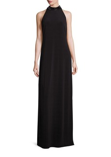 Laundry by Shelli Segal Embellished Jersey Halter Gown