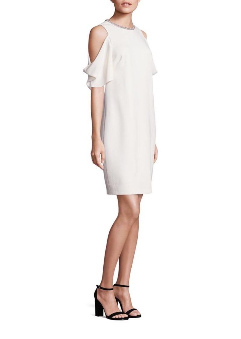 Laundry by Shelli Segal Embellished Neck Cold-Shoulder Dress