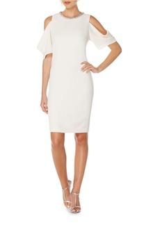 LAUNDRY BY SHELLI SEGAL Embellished Neck Cold Shoulder Dress