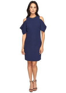 Laundry by Shelli Segal Embellished Neck Crepe Dress